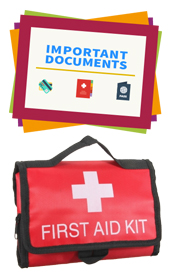 February - documents and first aid kit