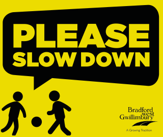 example of sign showing children playing with ball and text that says Please Slow Down
